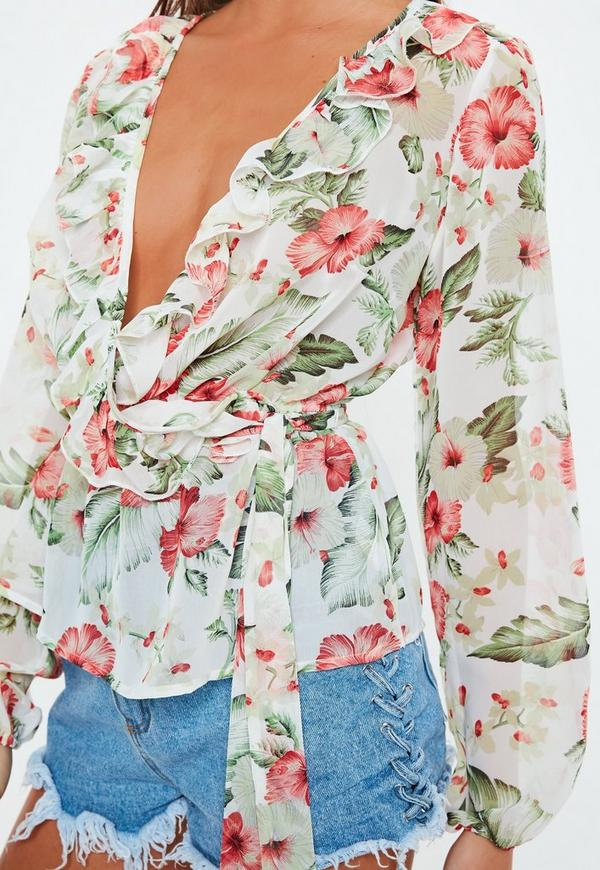 Cream Chiffon Elastic Waist Frill Wrap Blouse by Missguided