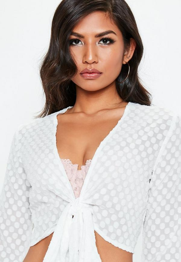 White Tie Front Dobby Spot Crop Top by Missguided