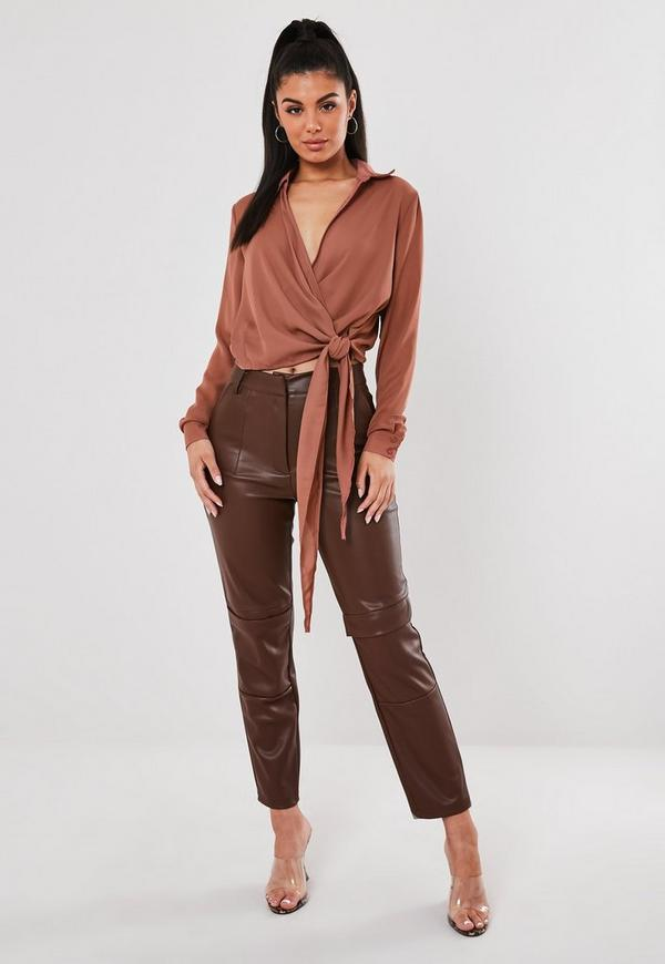 Rose Wrap Over Tie Side Blouse Missguided