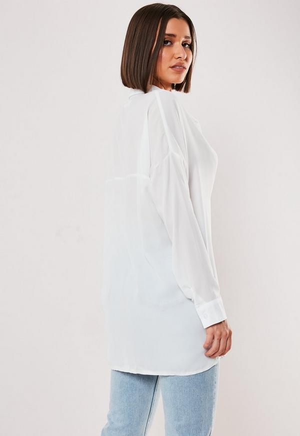 White Oversized Plunge Tunic by Missguided