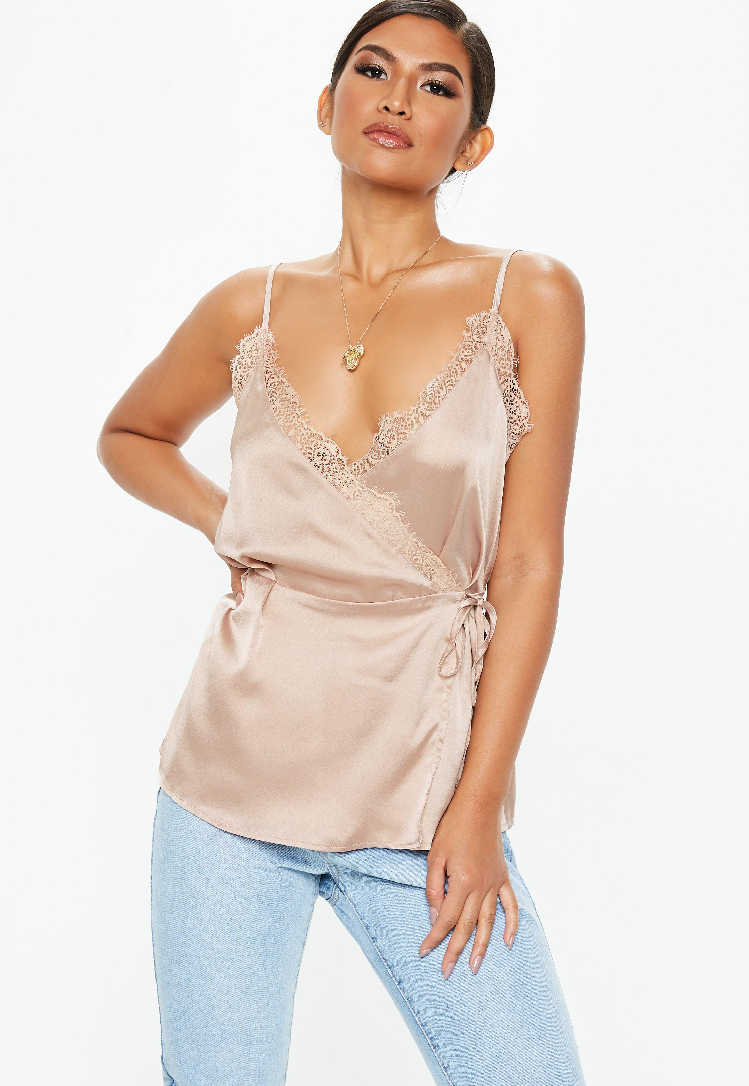 5a113859280bd Satin Tops Silky Missd. Gallery. Lyst Missd Dafiya Satin Feel Crop Top With Curved  Hem In Pink