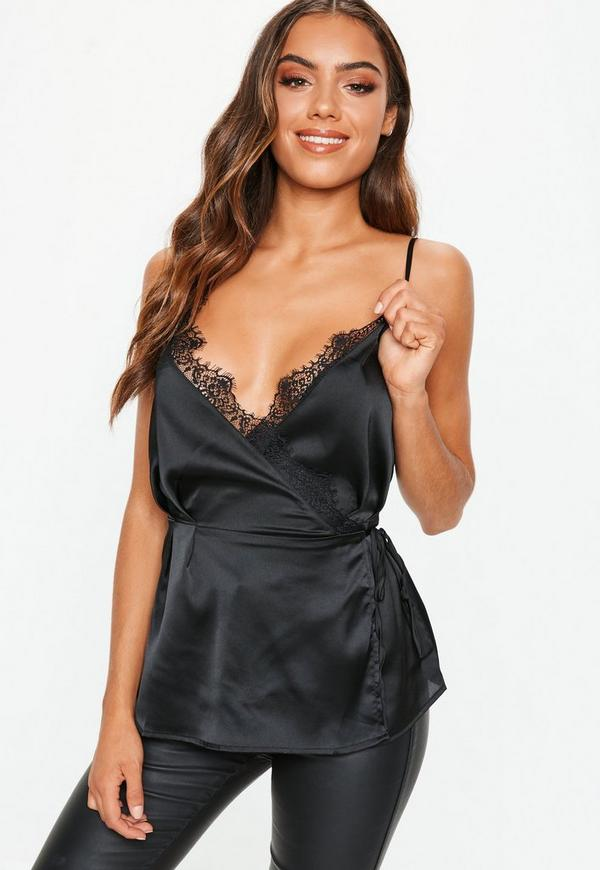 1c798ab964 ... Black Lace Trim Wrap Cami Top. Previous Next