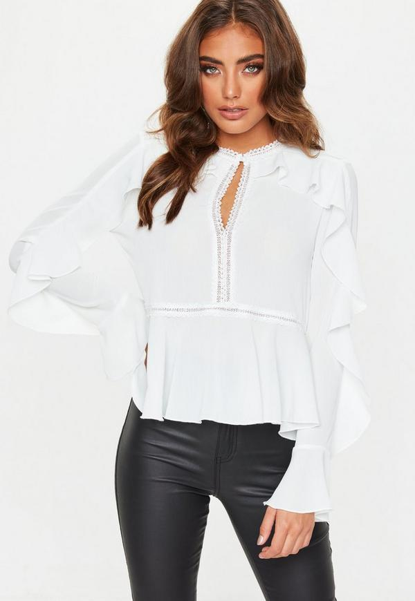 ladder lace frill sleeve blouse
