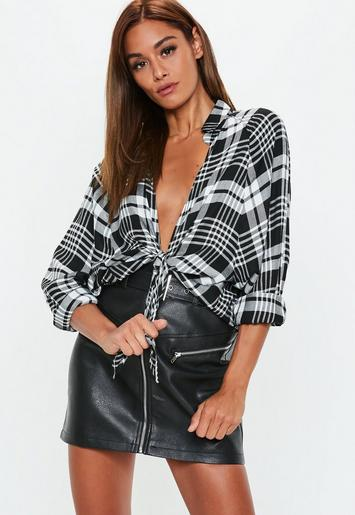 Black Oversized Plaid Knot Front Shirt Missguided