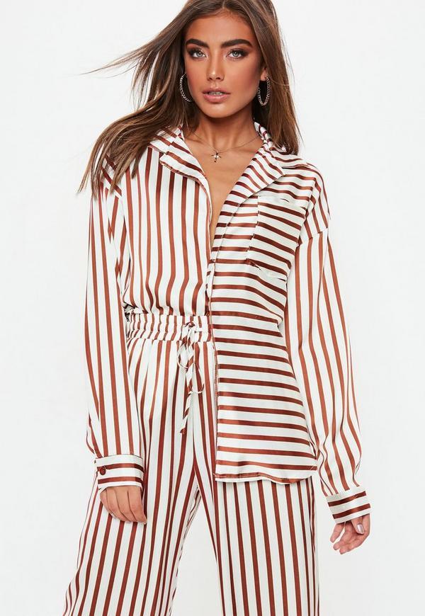 36fb503025d White Striped Oversized Satin Shirt