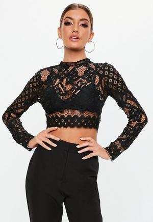 b10bb9f0735 Tall Black Cornelli Lace Sleeveless Crop Top | Missguided