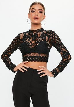 75492325cf Black Lace Crop Tops