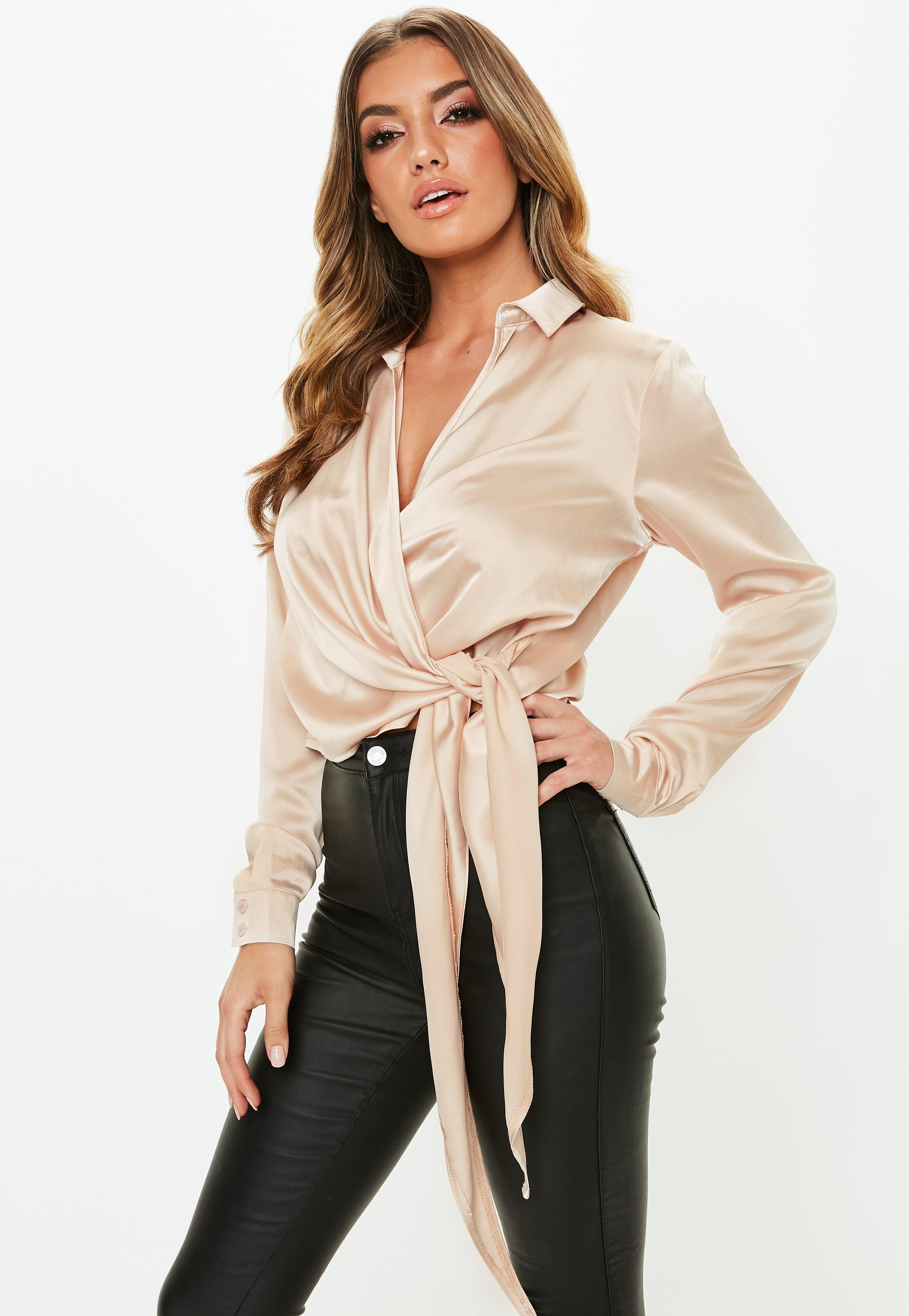 2e139c3f933 Gold Satin Tie Side Blouse