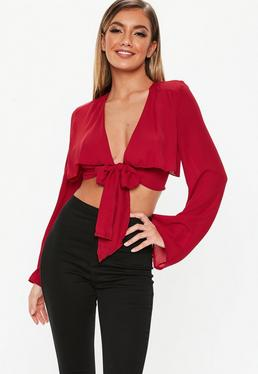 d1fcdb4ced353 Burgundy Double Layer Tie Front Crop Top