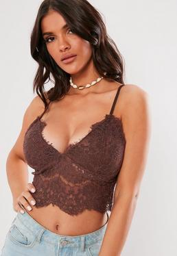 Plus Size Grey Lace Pipe Detail Bodysuit · Brown Corded Lace Cami Top 549f14356