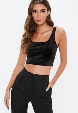 ... Black Diamante Velvet Buckle Crop Top 2300f0c71