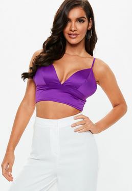 280c5c2d30887 Purple Satin Bralets. Lilac Tops