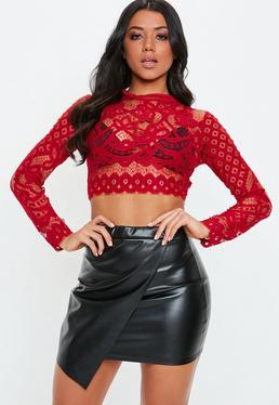 125b55afcf5c1d Red Lace Tops