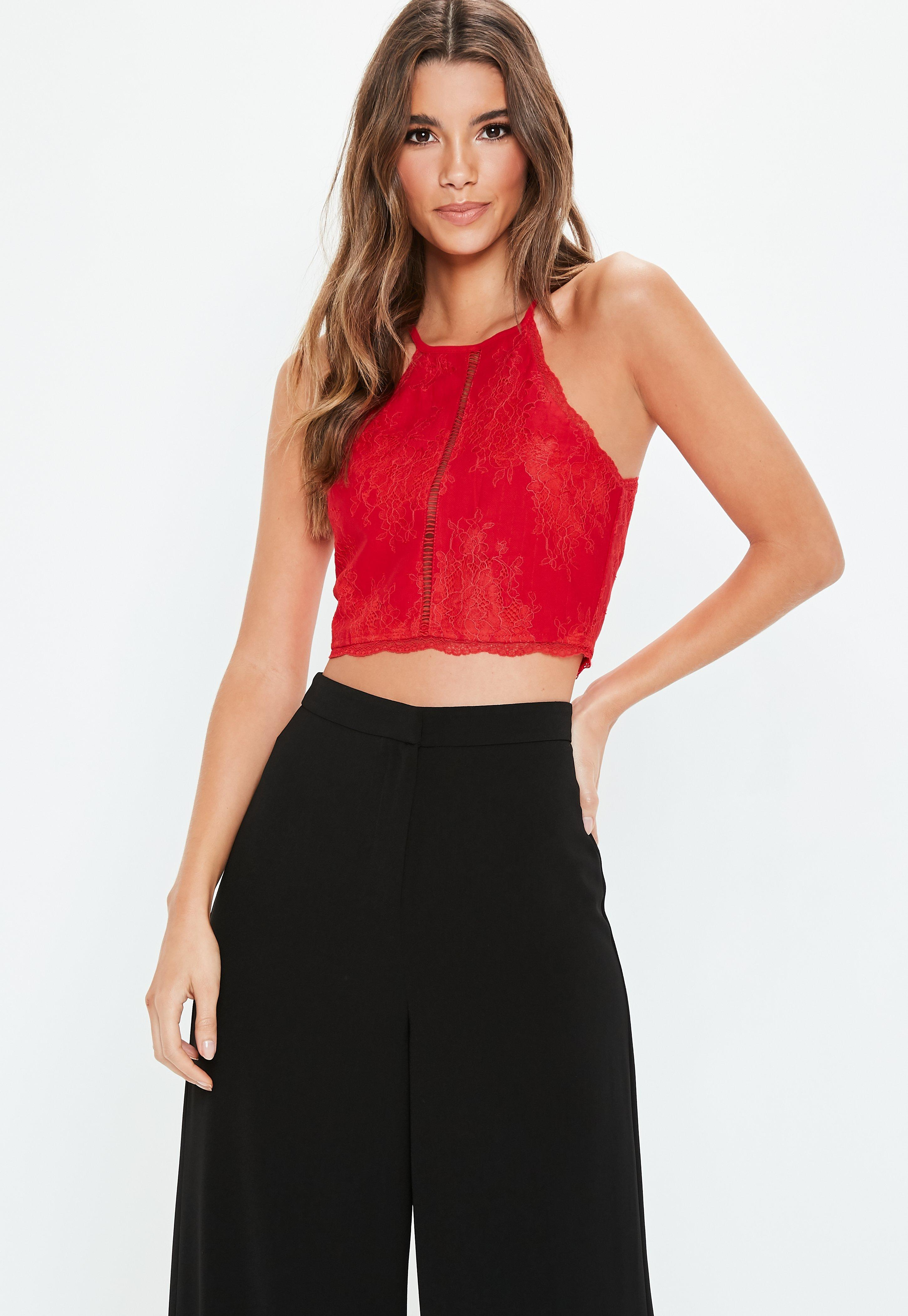 b72d597f22 Red Lace Insert Halter Top