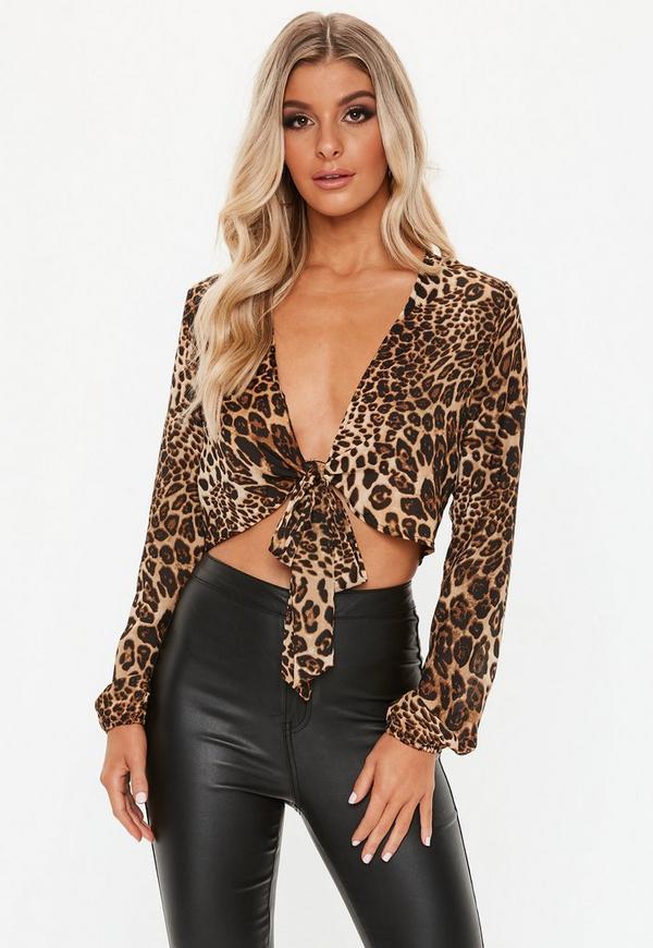 beb1003dc4c2ce ... Brown Leopard Print Tie Front Crop Top. Previous Next
