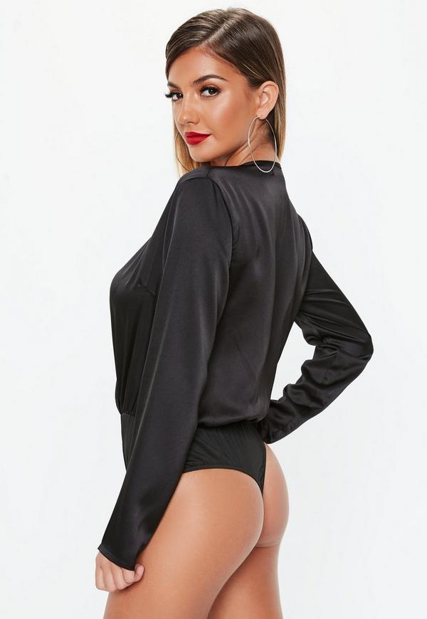 ... Black Wrap Front Plunge Bodysuit. Previous Next 25d44a68c