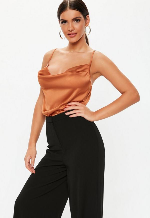 Rust Cowl Neck Satin Bodysuit by Missguided