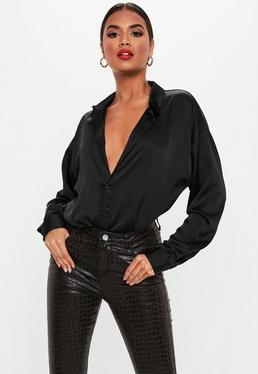 Черная атласная длинная экстремальная рубашка большого размера