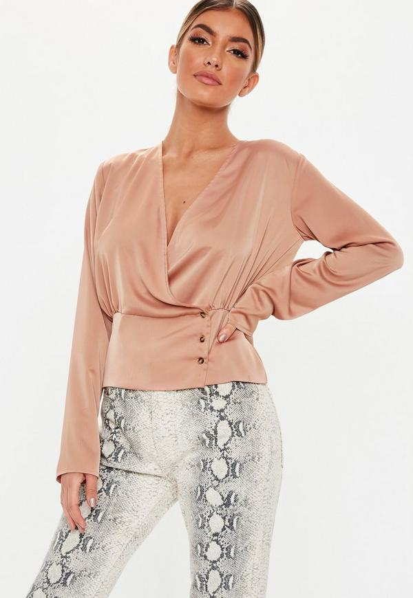 Rose Wrap Deep Button Hem Blouse by Missguided