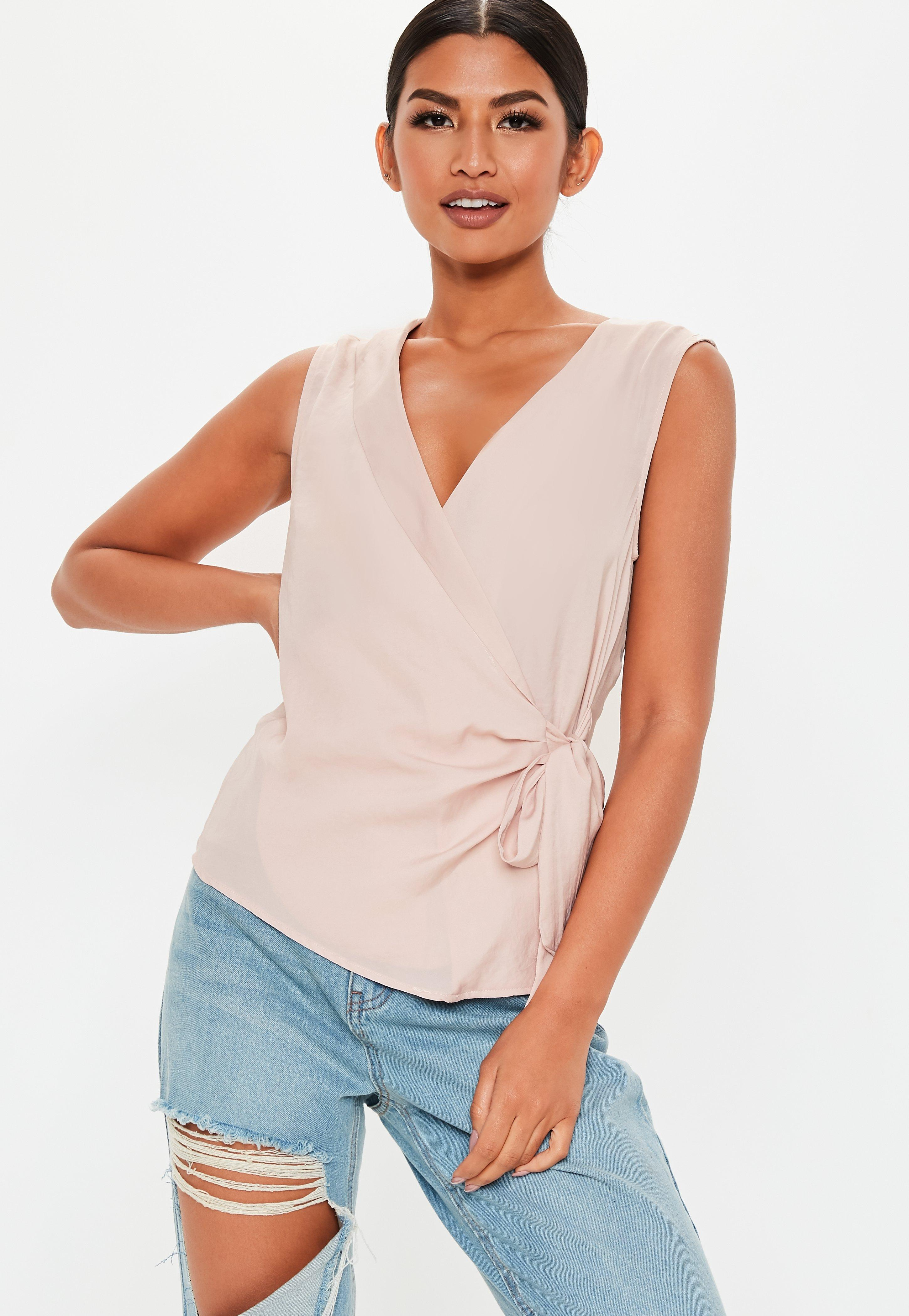 a366f70fdb Pink Sleeveless Tie Side Blouse