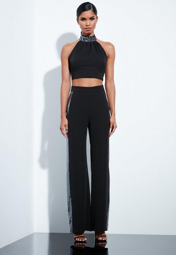 d4253319f21bc ... Black Sequin High Neck Tie Back Crop Top. Previous Next