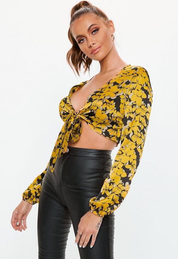 Black Floral Tie Front Crop Top Missguided