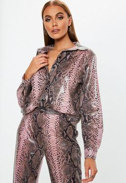 Pink Faux Leather Snake Skin Shirt