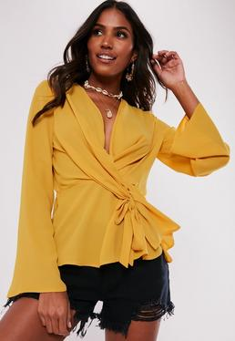 61286007bbc1a ... Yellow Wrap Tie Knot Blouse