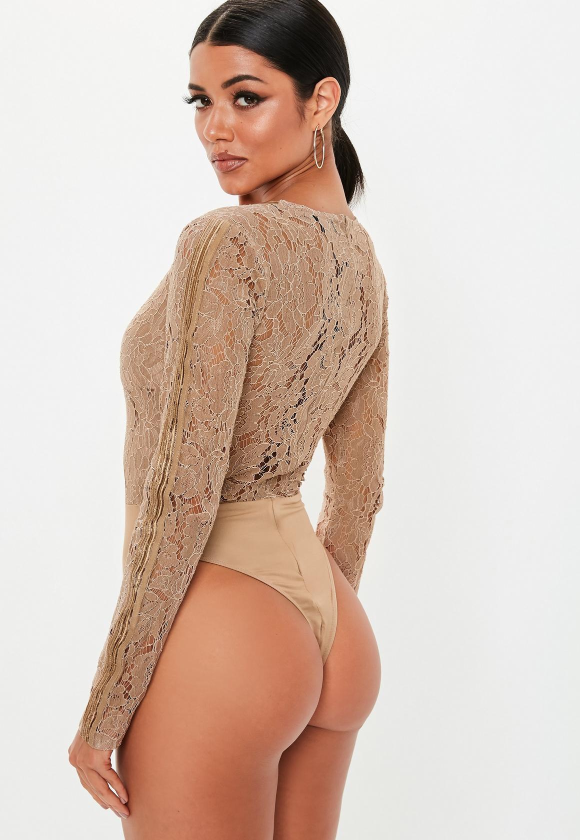 Missguided - body à manches longues en dentelle camel - 4