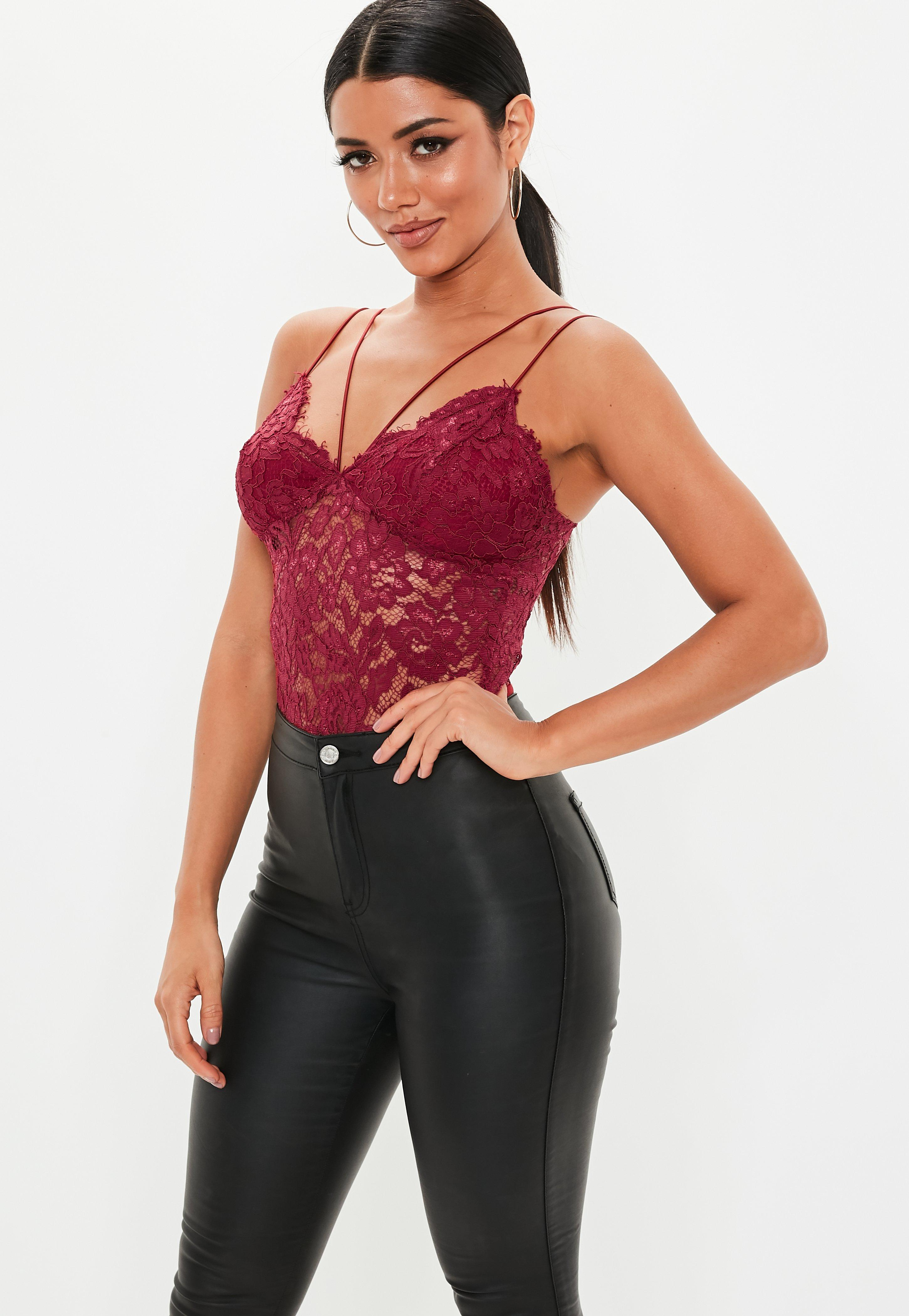84dcb1fda Burgundy Corded Lace Harness Bodysuit | Missguided