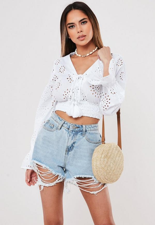 White Broderie Anglaise Lace Up Crop Top by Missguided