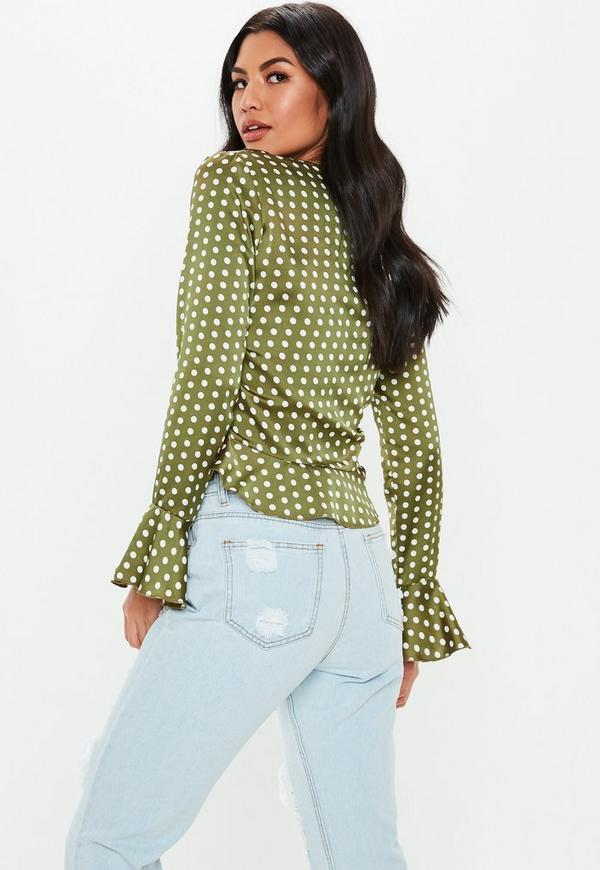 16a5beb0ed3 Olive Polka Dot Ruffle Tie Front Crop Top. Previous Next