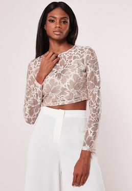 Lace Tops Long Sleeve Lace Crochet Tops Missguided