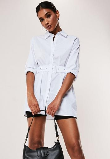 White Belted Cotton Poplin Long Shirt by Missguided
