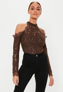 f97cff51431 Chocolate Cold Shoulder Lace Bodysuit
