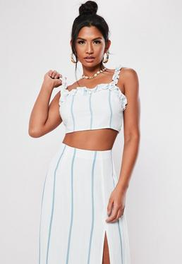 b955ebc510a737 White Striped Frill Co Ord Crop Top
