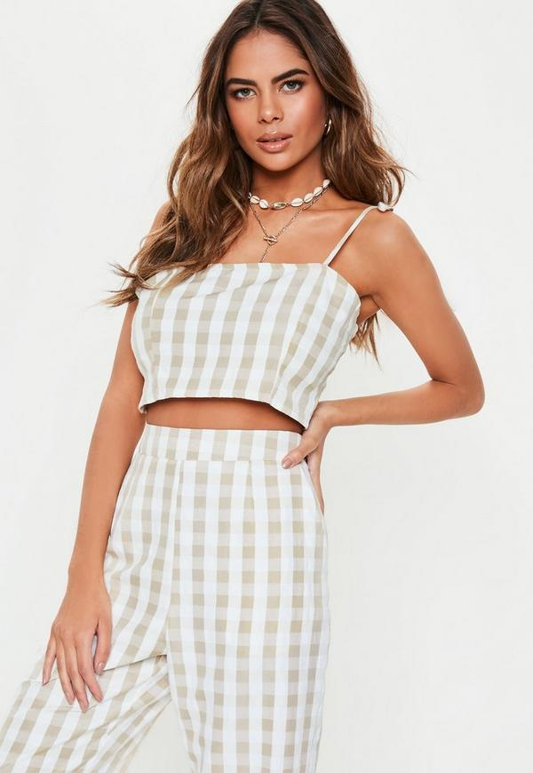 af5f642551f10 Stone Gingham Strappy Co Ord Crop Top