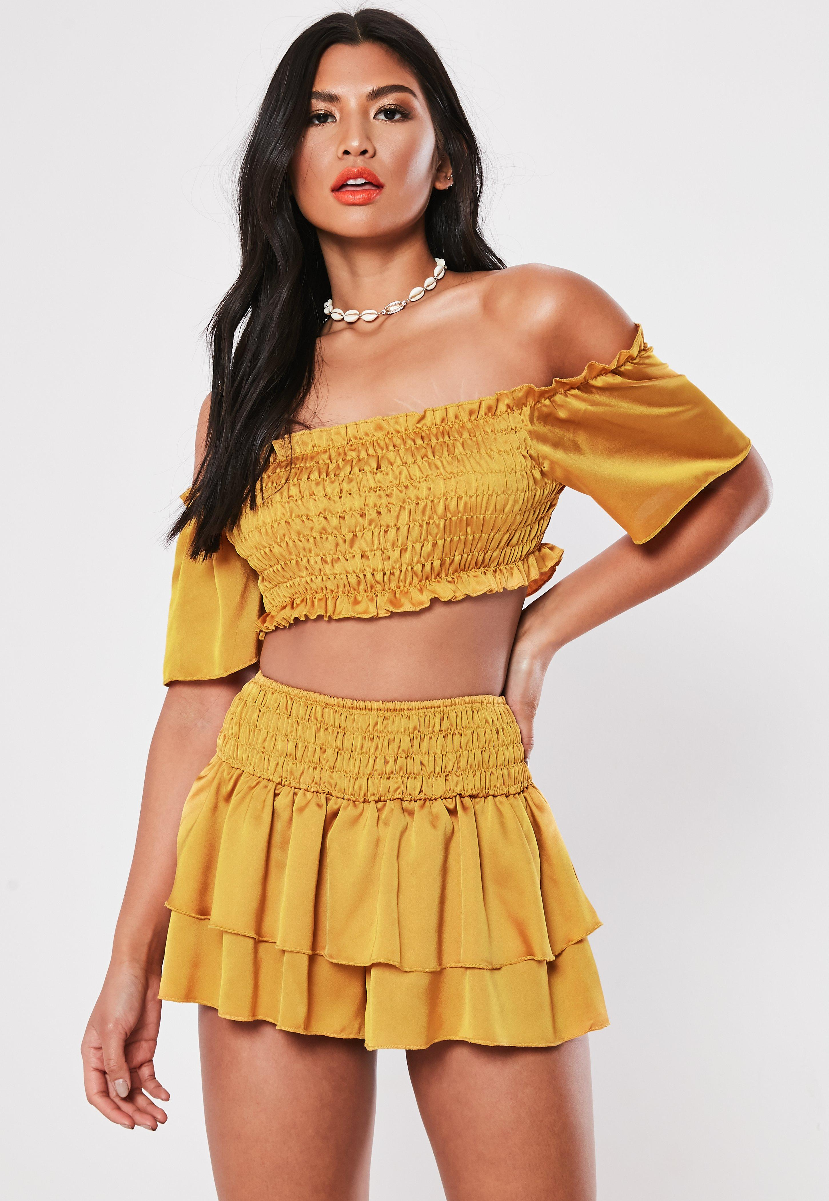 f8cdee3d8bd Yellow Co Ord Satin Ruched Bardot Crop Top | Missguided
