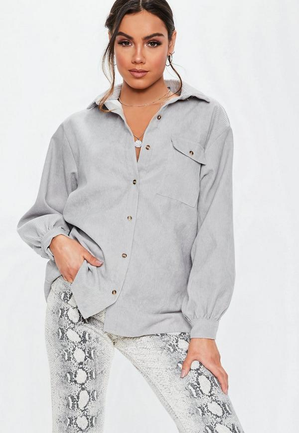 49ec9ae520c Grey Oversized Cord Shirt. Previous Next
