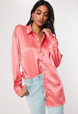 717fbd0b2 ... Pink Oversized Satin Shirt