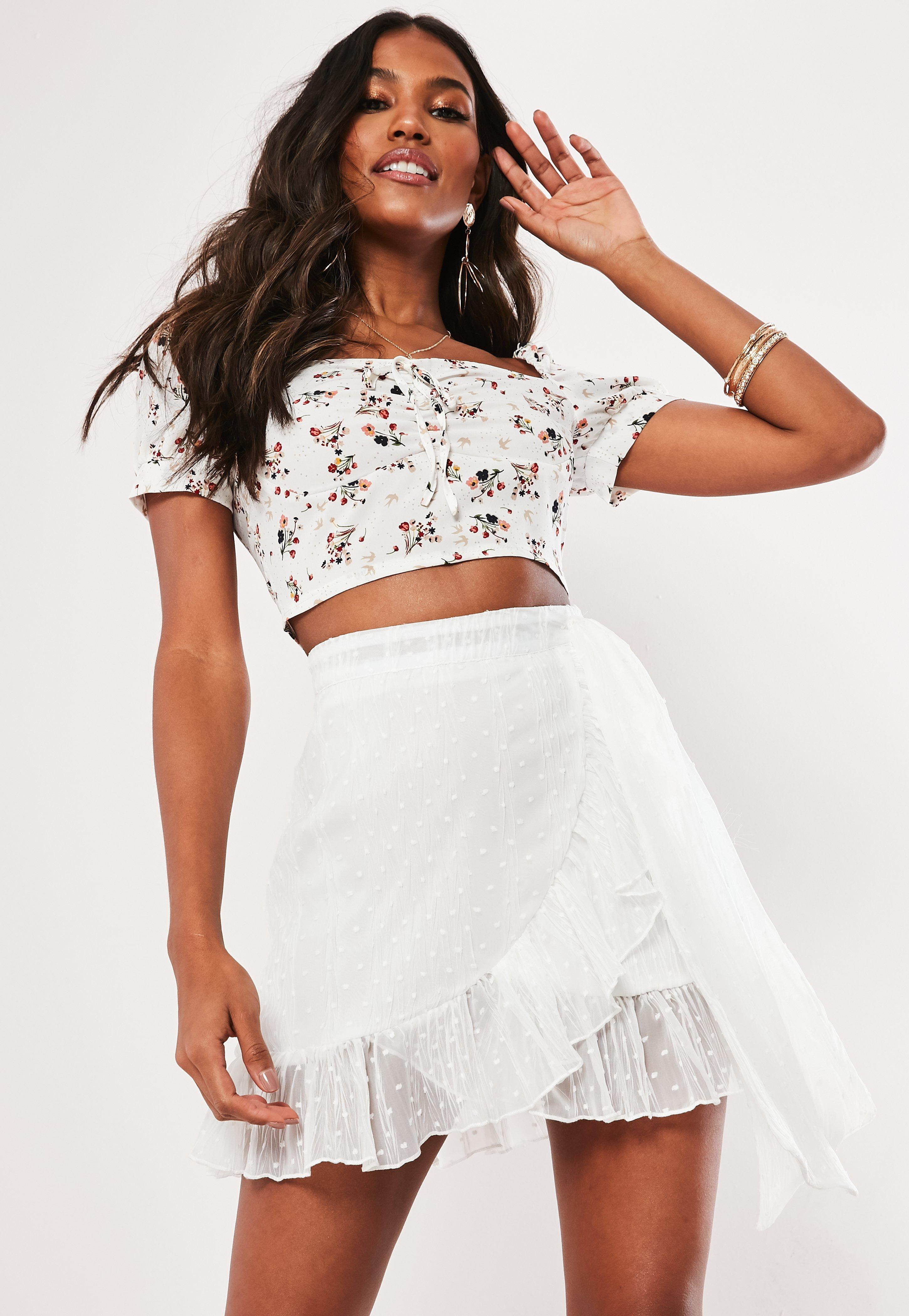 375363400fa White Floral Square Neck Crop Top | Missguided