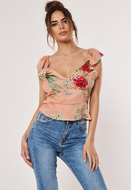 54b657a2c48381 ... Blush Ditsy Floral Button Front Crop Top
