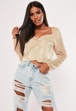 ba46b028c7ae7 Ivory Ruched Front Hammered Satin Crop Top