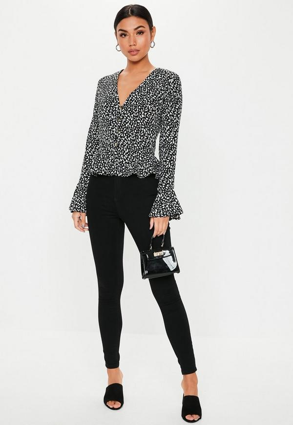 Black Abstract Spot Button Peplum Blouse by Missguided