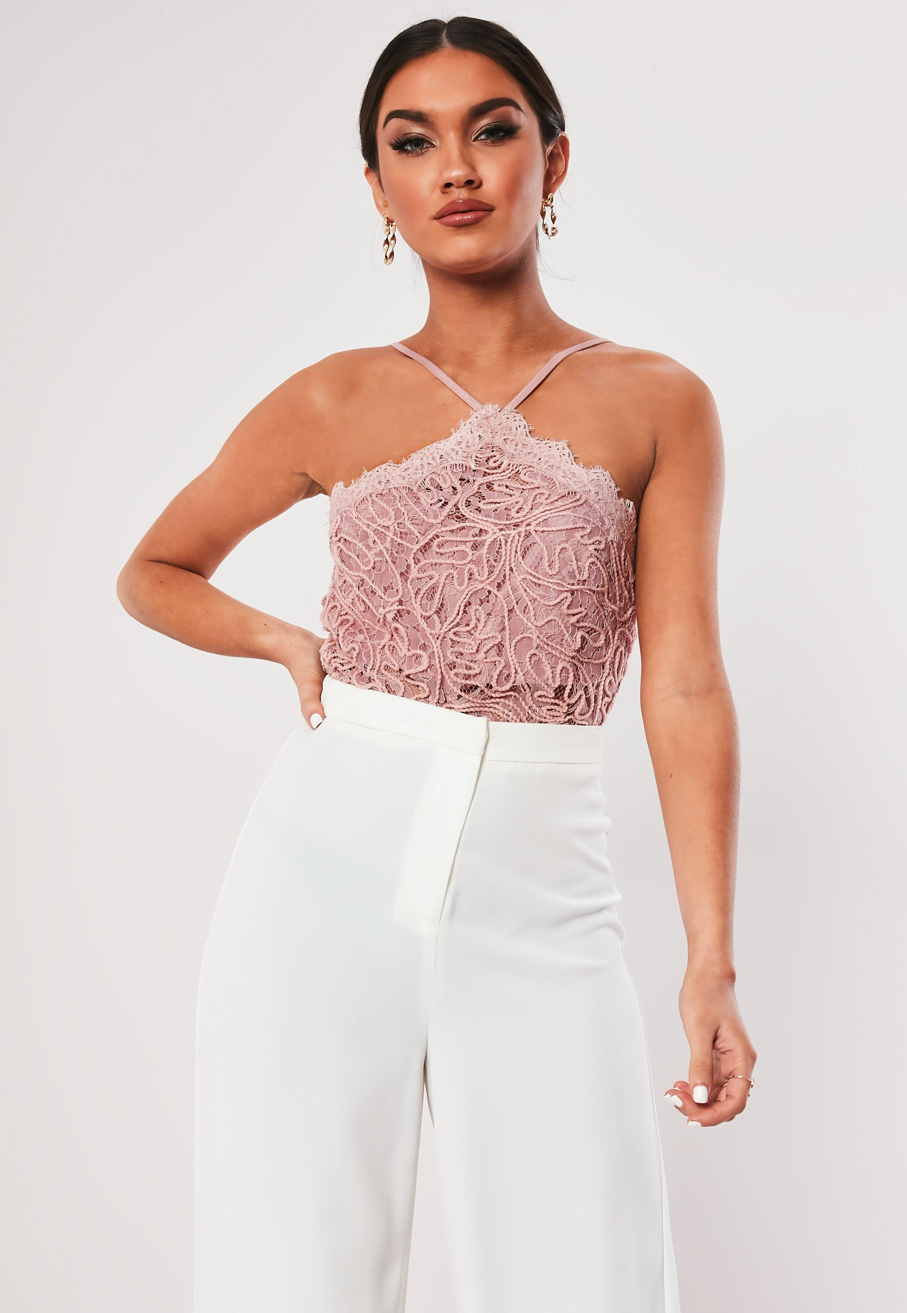 a4efe32742e Pink Cornelli Lace Halterneck Crop Top | Missguided