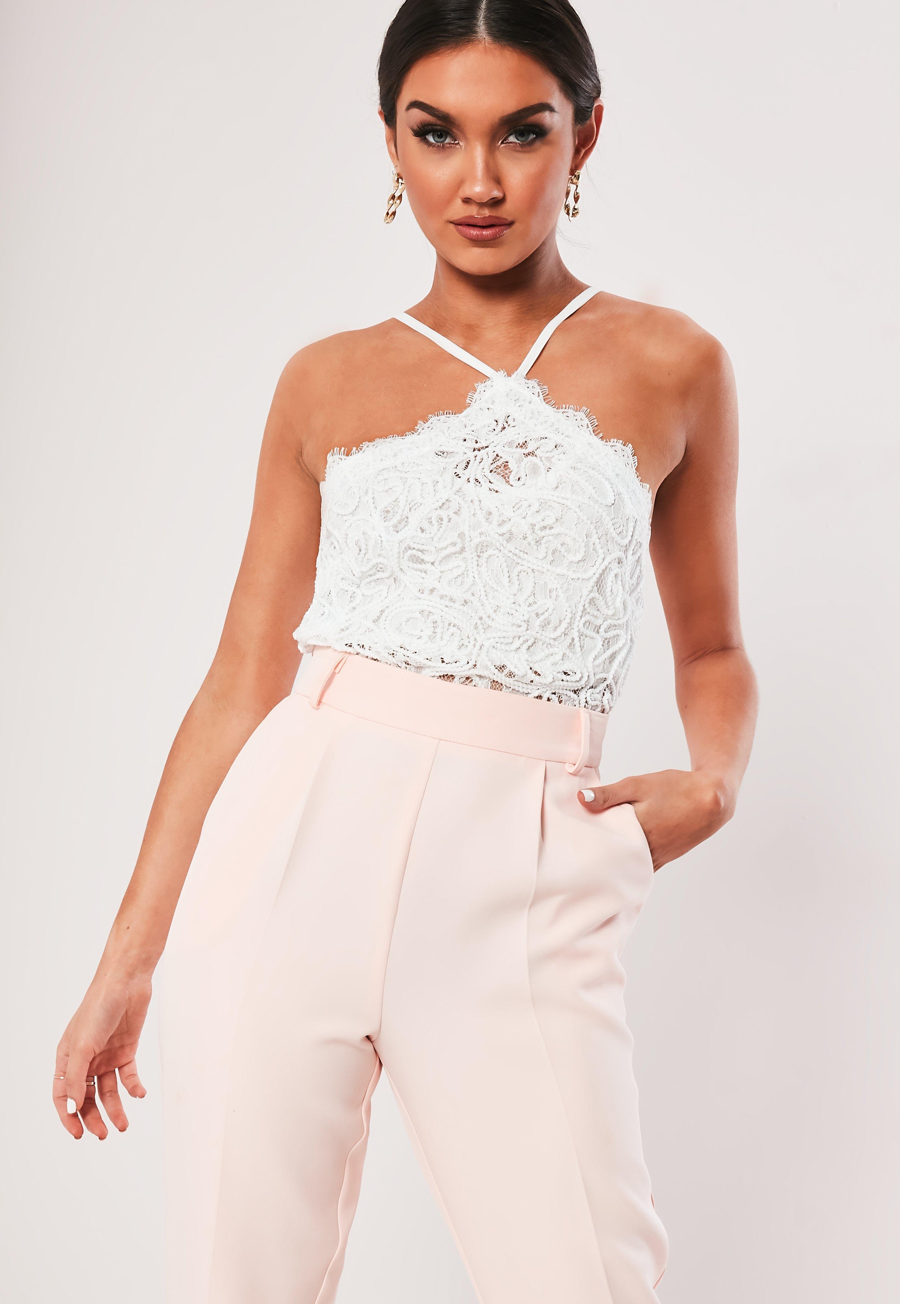 e19b3284af8 White Cornelli Lace Halterneck Crop Top | Missguided