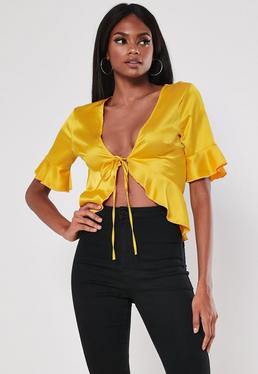 dd7205fb97b97 ... Yellow Satin Tie Front Crop Top