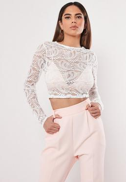 77202cc92be5a0 ... White Long Sleeve Lace Crop Top