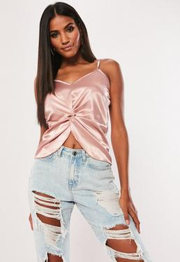 ac882e10ebc04 ... Pink Satin Twist Front Cami Top