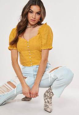 5501e43d6f388e Petite Mustard Yellow Twist Front Flared Sleeve Crop Top  Mustard Broderie  Anglaise Milkmaid Crop Top